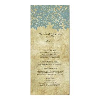 Teal Blue Vintage Country Wedding Menu Custom Announcements