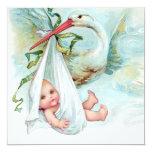 Teal Blue Vintage Stork Baby Shower 13 Cm X 13 Cm Square Invitation Card