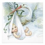 Teal Blue Vintage Stork Baby Shower Invites