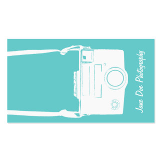 Teal Blue Vintage White Film Camera Photography Pack Of Standard Business Cards