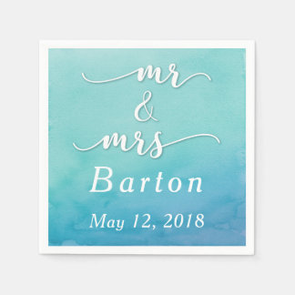 Teal & Blue Watercolor Wedding Mr & Mrs Typography Paper Serviettes