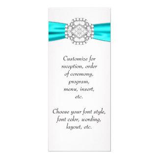 Teal Blue Wedding Menu Program 10 Cm X 24 Cm Invitation Card