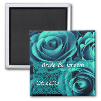 TEAL BLUE Wedding Rose Bouquet with Lace Square Magnet