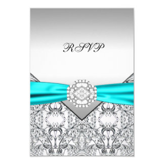 Teal Blue Wedding RSVP Card