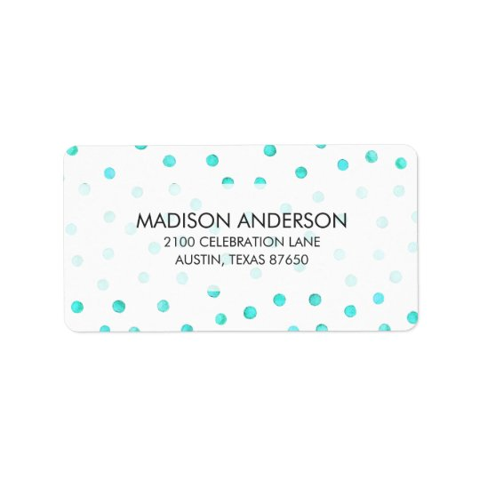 Teal Blue White Confetti Dots Pattern Address Label