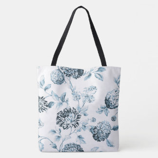 Teal Blue & White Modern Floral Toile Tote Bag
