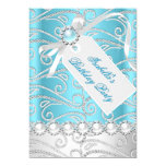 Teal Blue White Pearl Diamonds Birthday Party 4 13 Cm X 18 Cm Invitation Card