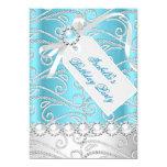 Teal Blue White Pearl Diamonds Birthday Party 4 13 Cm X 18 Cm Invitation Card