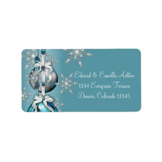 Teal Blue White Snowflakes Blue Christmas Address  Address Label