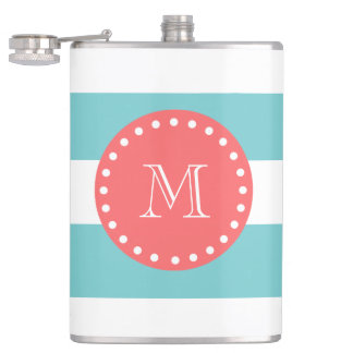 Teal Blue White Stripes Pattern, Coral Monogram Hip Flask