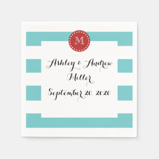 Teal Blue White Stripes Pattern, Red Monogram Paper Serviettes