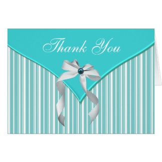 Teal Blue White Thank You Note Card