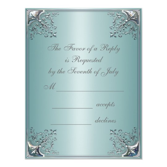 Teal Blue White Wedding Invitations
