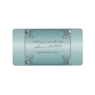 Teal Blue White Wedding Invitations Address Label