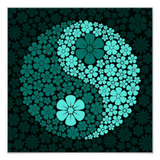 Teal Blue Wild Flowers Yin Yang Poster