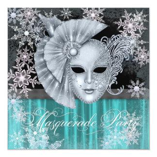 Teal Blue Winter Wonderland Masquerade Party 13 Cm X 13 Cm Square Invitation Card