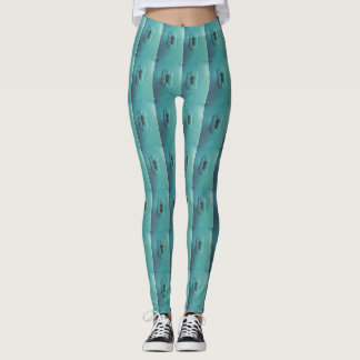 Teal blue with a retro look  key hole pattern leggings