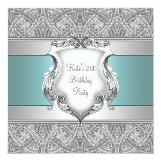 Teal Blue Womans 21st Birthday Party 13 Cm X 13 Cm Square Invitation Card
