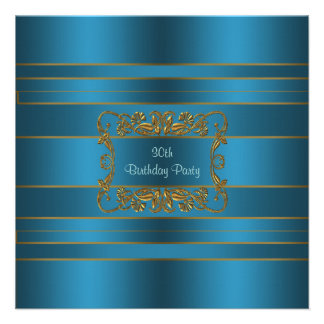 Teal Blue Womans 30th Birthday Party Invite