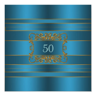 Teal Blue Womans 50th Birthday Party Card