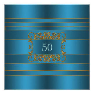 Teal Blue Womans 50th Birthday Party Announcement