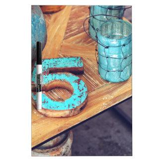 Teal Blue Wood Dry Erase Board
