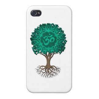 Teal Blue Yoga Om Tree of Life iPhone 4/4S Case