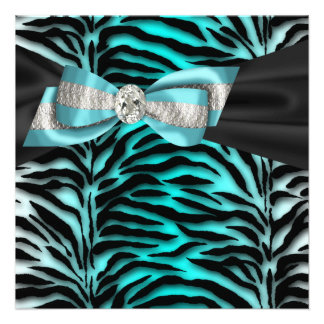 Teal Blue Zebra All Occasion Party Invitation