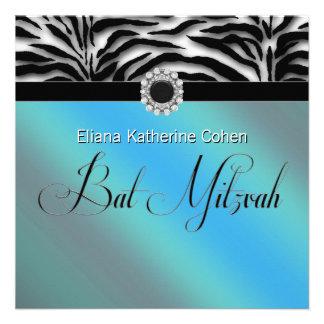 Teal Blue Zebra Bat Mitzvah Invitations