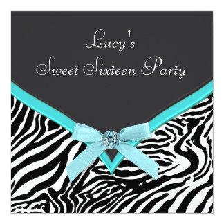 "Teal Blue Zebra Birthday Party 5.25"" Square Invitation Card"