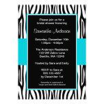 Teal Blue Zebra Bridal Shower Invitation