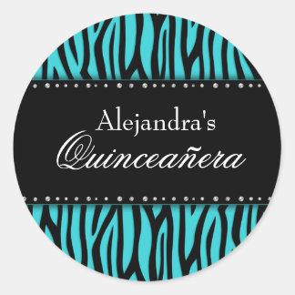 Teal Blue Zebra Diamonds Quinceanera Classic Round Sticker