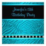 Teal Blue Zebra Girls 13th Birthday Party Custom Invitations