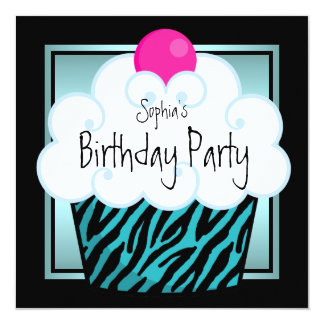 Teal Blue Zebra Girls Cupcake Birthday Party Card