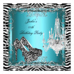 Teal Blue Zebra Leopard Print Party Shoes Personalised Announcements