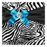 Teal Blue Zebra Party Invitation