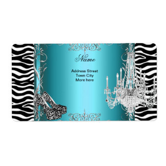 Teal Blue Zebra Print Party Shoes Chandelier Custom Shipping Labels
