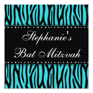 Teal Blue Zebra Printed Diamonds Bat Mitzvah Card
