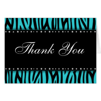 Teal Blue Zebra Printed Diamonds Thank You Card