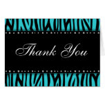 Teal Blue Zebra Printed Diamonds Thank You Note Card