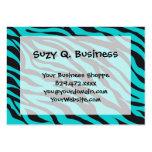 Teal Blue Zebra Stripes Wild Animal Prints Novelty Large Business Cards (Pack Of 100)