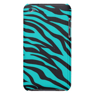 Teal Blue Zebra Stripes Wild Animal Prints Novelty Barely There iPod Case