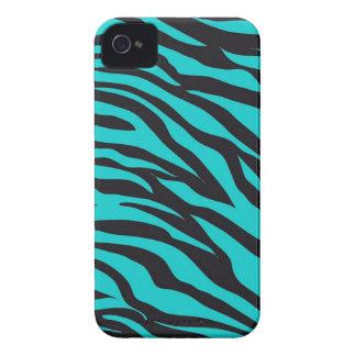 Teal Blue Zebra Stripes Wild Animal Prints Novelty iPhone 4 Cases