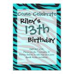 Teal Blue Zebra Stripes Wild Animal Prints Novelty 5x7 Paper Invitation Card