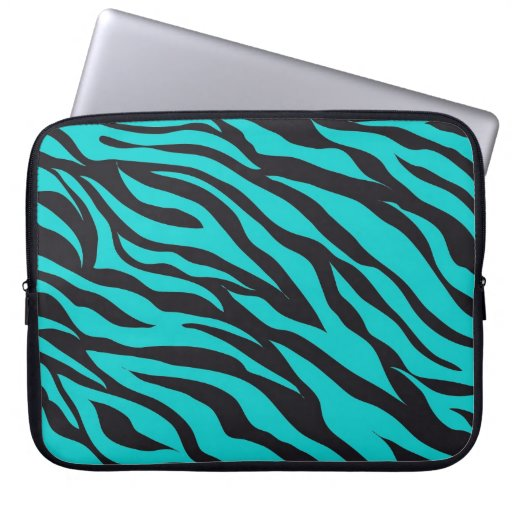 Teal Blue Zebra Stripes Wild Animal Prints Novelty Laptop Computer Sleeves