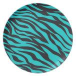 Teal Blue Zebra Stripes Wild Animal Prints Novelty Dinner Plate