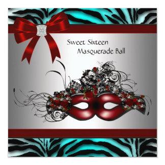 Teal Blue Zebra Sweet 16 Masquerade Party 13 Cm X 13 Cm Square Invitation Card