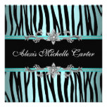 Teal Blue Zebra Sweet Sixteen Birthday Party Custom Announcement