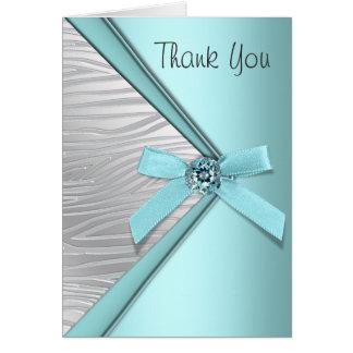 Teal Blue Zebra Thank You Cards