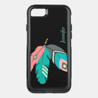 Teal Boho Feather OtterBox Commuter iPhone 8/7 Case